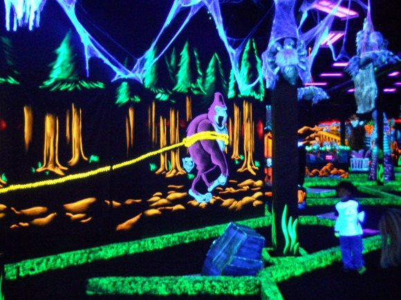 Kids love this glow in the dark mini golf course